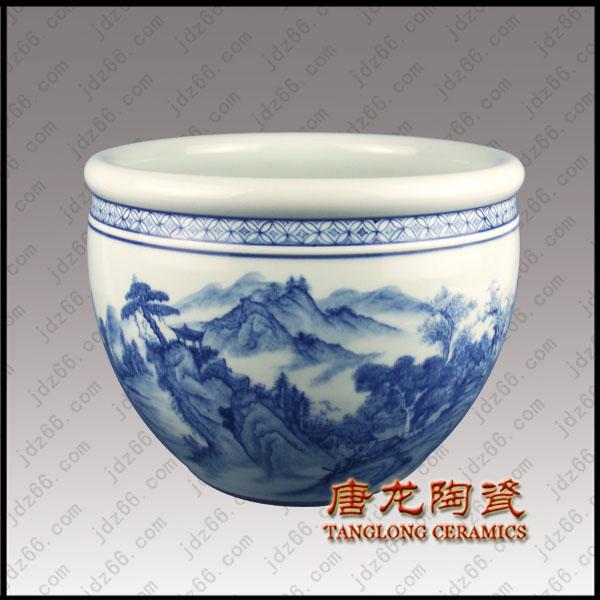 67云峰松韵图青花陶瓷缸DJDGQQI..