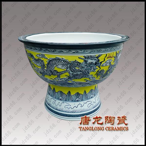 48黄釉雕龙陶瓷大缸DJDGQQLSQ04..