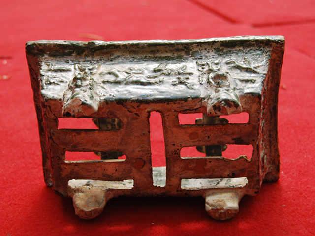 汉代绿釉陶瓷烧烤炉高9厘米长22..